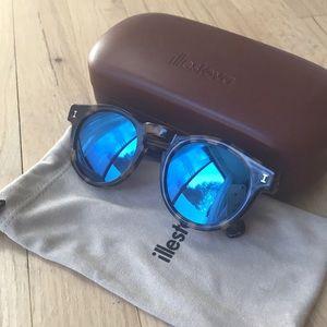 Illesteva Leonard Sunglasses (blue mirror)